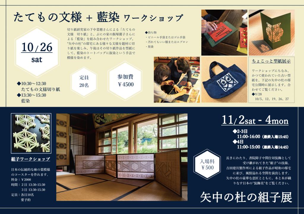茨城県つくば市「矢中の杜」で、筑波山麓地域全体での「筑波山麓秋祭り2019」の邸宅公開に合わせて、2019年10月26日(土)にたてもの文様と藍染のコラボレーションワークショップを開催します。